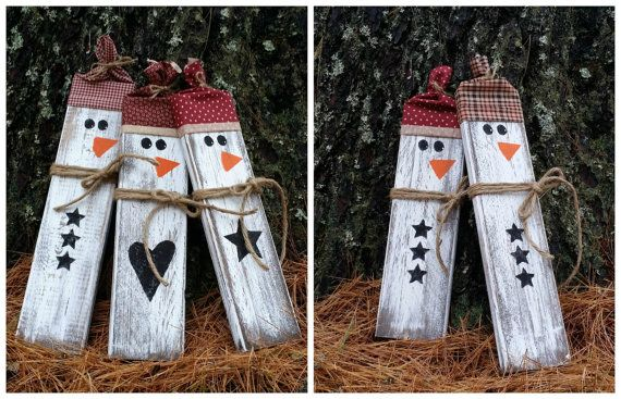 Distressed Rustic Wooden Snowmen Christmas by LittleZebrasBoutique