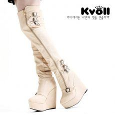 X52662 Kvoll Joker Metal Buckles Wedge Heel Slim Overknee Boots Apricot [X52662] - $33.00 : China,Korean,Japan Fashion clothing wholesale and Dropship online-Be the most beautiful Lady