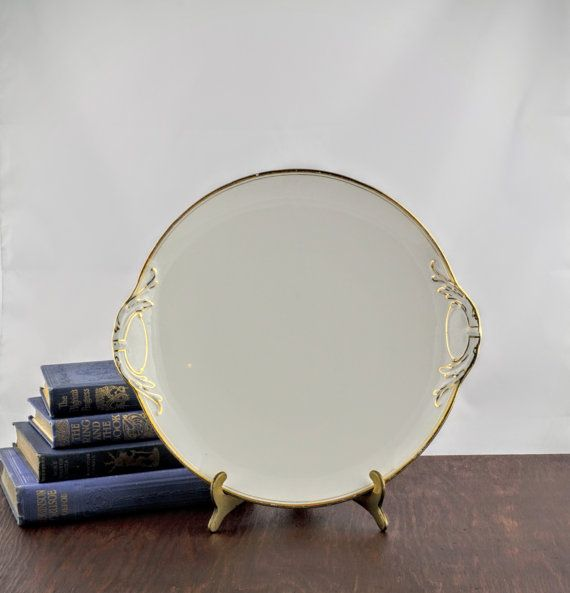 Vintage White Plate with Gold Decoration  Retro by LoAndCoVintage