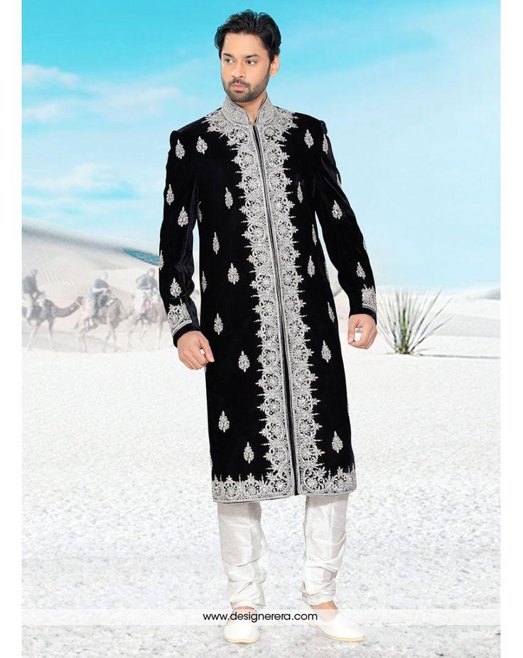 DE Ritzy Black White Designer Embroidered Sherwani With Churidar