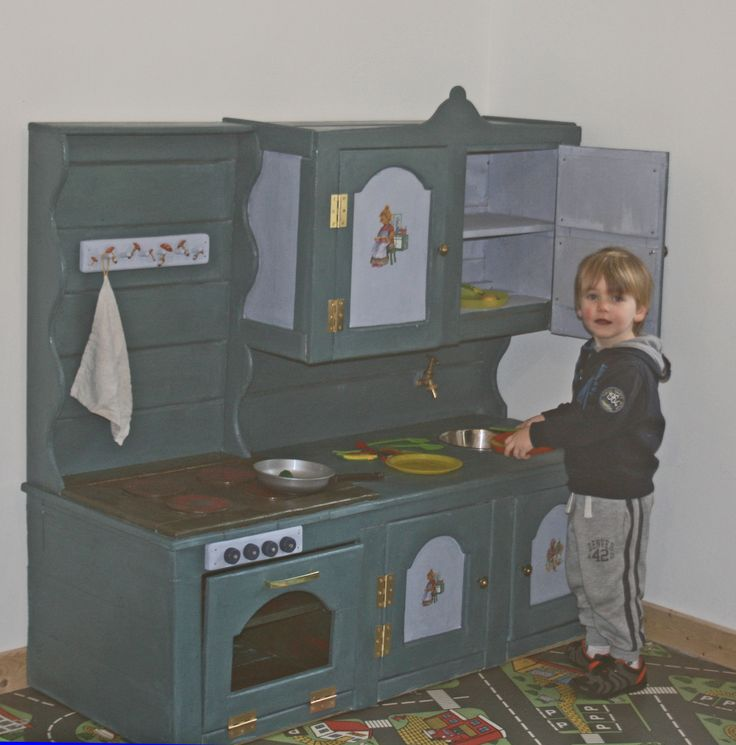 play kitchen made from reclaimed wood.