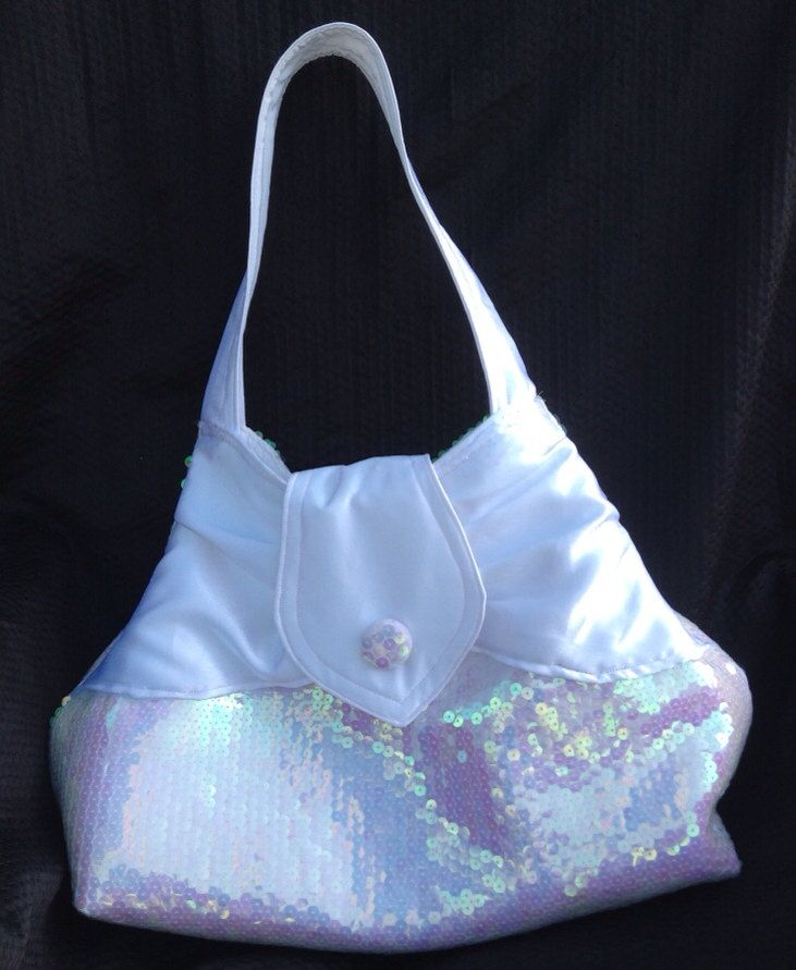 White Satin and Sequin Shoulder Bag - pinned by pin4etsy.com