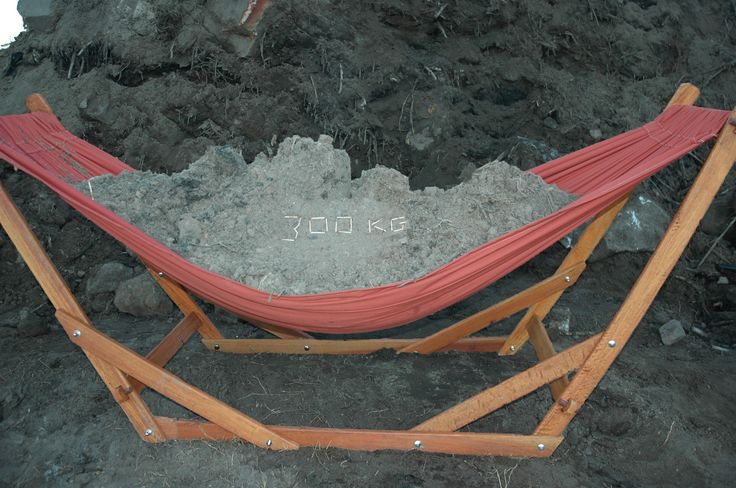 www.dreamtimehammocks.co.za Ouir hammocks and hammock stand undergo various strength and durability tests - Here our wooden hammock stand undergoing a 300kg test