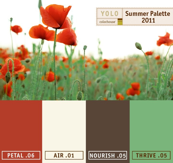 Pretty close to the color palette for my dad's - except green was called zen (benjamin moore) and brown was called acorn (benjamin moore)