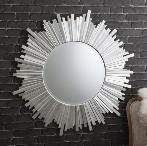 Decorative wall mirror with dramatic design and silver leaf finish. One of our most popular large wall mirrors. Celestial Silver Mirror with free delivery.