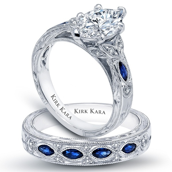 Lovely Marquise cut Diamond Engagement Ring with blue marquise sapphires| detailed | floral | hand engraved | vintage | Dahlia collection Design No: K1126SDG-R/K1120SD-B