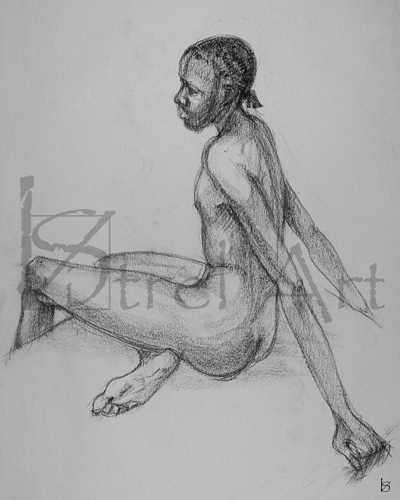 Male nude 2. Digital image of original charcoal life by ArtViStrel