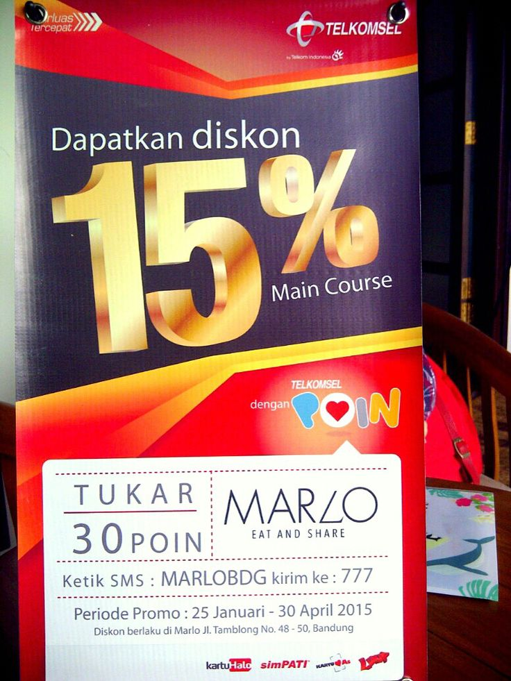 DISC 15% di @marloeatnshare dengan @Telkomsel !!  Go Go Go  \m/