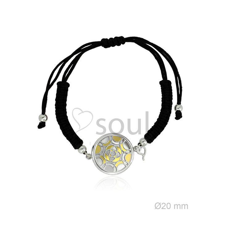 REF. 364004. Pulsera Mandala. Pulsera de macramé con motivo en nácar u ónix en plata de Ley.