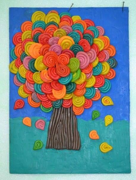Пластилиновые деревья - детские поделки 4