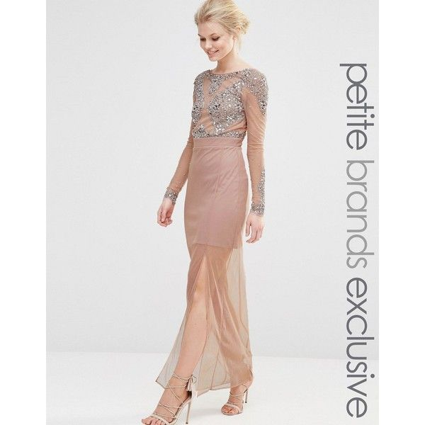 Maya Petite All Over Mesh Maxi Dress With Embellished Bodice Detail (£120) ❤ liked on Polyvore featuring dresses, petite, pink, low back cocktail dress, slimming dresses, petite cocktail dress, petite dresses and pink cocktail dress