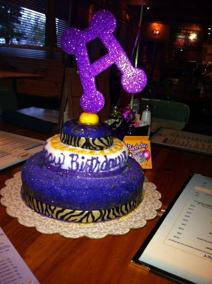 Purple & Gold three tiered fondant cake