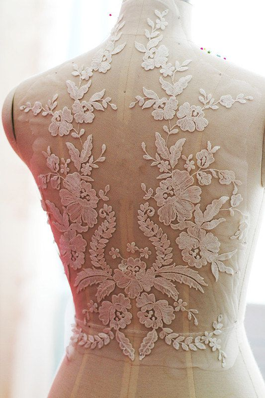 * super Exquisite ivory bridal lace applique , thick ivory floral embroidery , very chic and beautiful  * Graceful ivory color, perfect choice for wedding gown / bridal dress decor, bodice , wedding dress applique, bridal headpiece applique, evening gown applique, sash applique, wedding cale candle applique , bridal accessories ,wedding projects .   * Applique height is about 40 cm and width is 31 cm similar items…