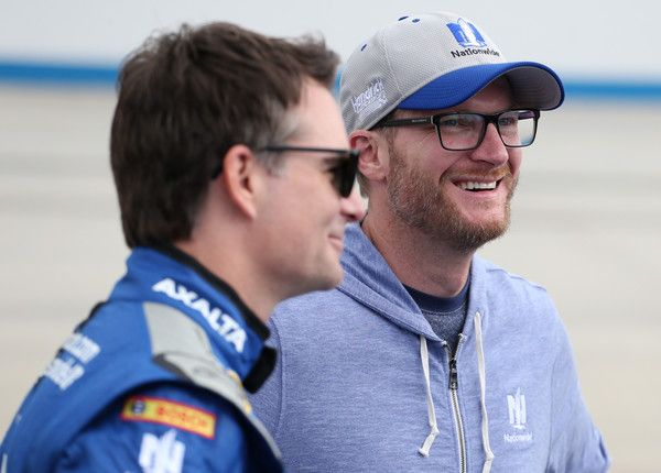 Dale Earnhardt Jr. Photos Photos - Jeff Gordon, driver of the #88 Nationwide Chevrolet, talks with Dale Earnhardt Jr. prior to the start of the NASCAR Sprint Cup Series Citizen Solider 400 at Dover International Speedway on October 2, 2016 in Dover, Delaware. - NASCAR Sprint Cup Series Citizen Solider 400