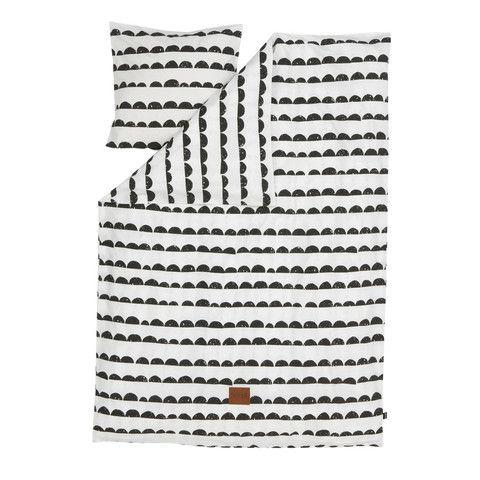 Bedding Set . Single - Half Moon Black/White