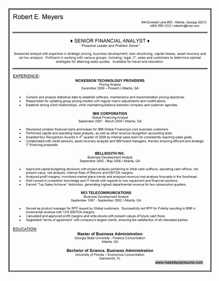 Financial Analyst Resume Example Awesome Senior Financial
