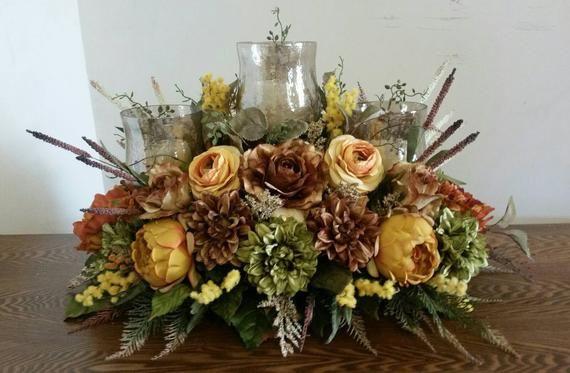Floral Arrangement Candle Obera Floral Centerpiece Elegant Etsy In 2021 Sunflower Floral Arrangements Candle Arrangements Fall Floral Centerpieces