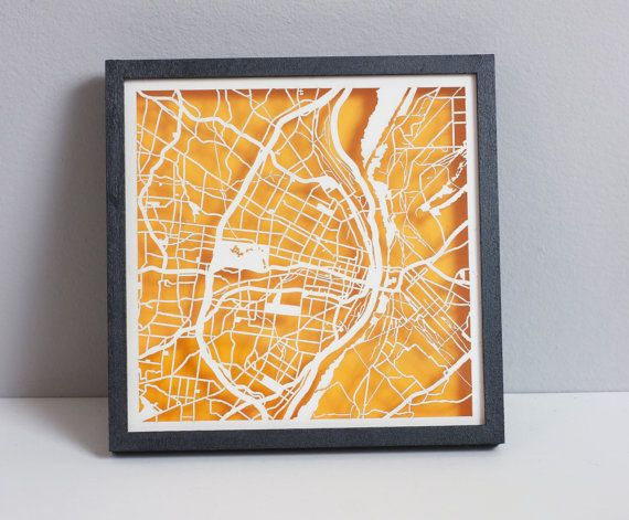 "St. Louis Laser Cut Map With Minimal Shadowbox Frame- 8"" city map on Etsy, $70.00"