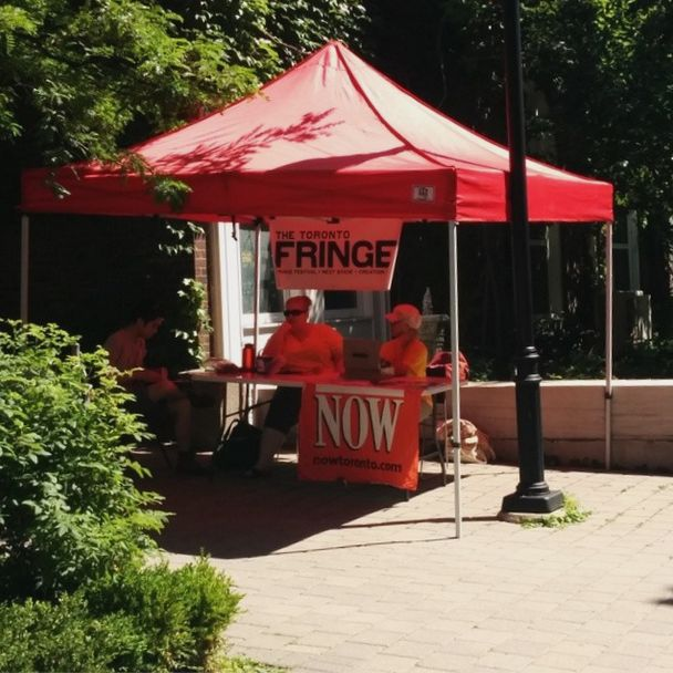 The tent was set up with tickets and information early at Helen Gardiner Phelan Playhouse.