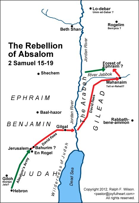 Map: The Rebellion of Absalom (2 Samuel 15-19).
