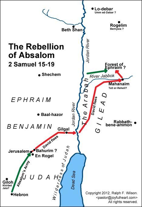 Map: The Rebellion of Absalom (2 Samuel 15-19).
