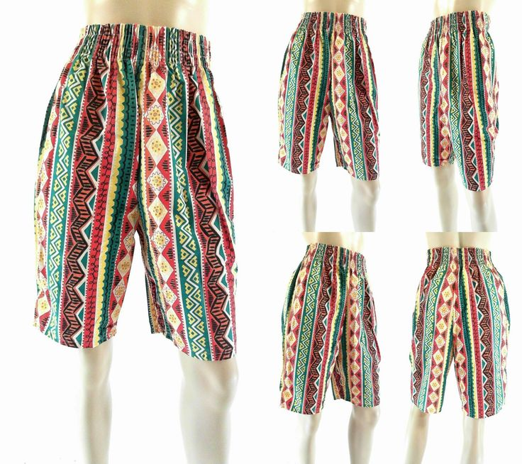 Sultra Retro Womens Size M Comfort Basic Shorts Multi-Color Yellow Tribal Chop