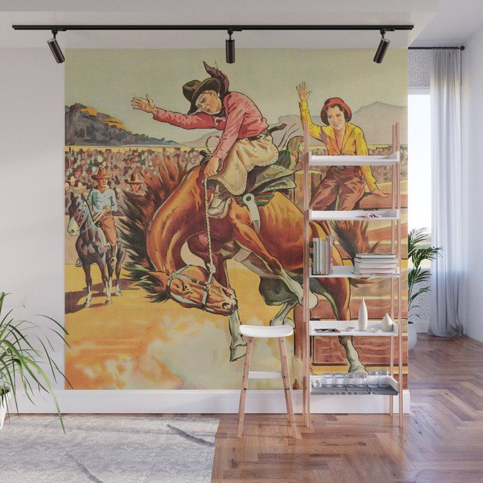 Vintage Western Rodeo Cowboy On Bucking Horse Wall Mural By Rodeodays Society6 Cowboy Decorations Vintage Western Decor Wall Murals