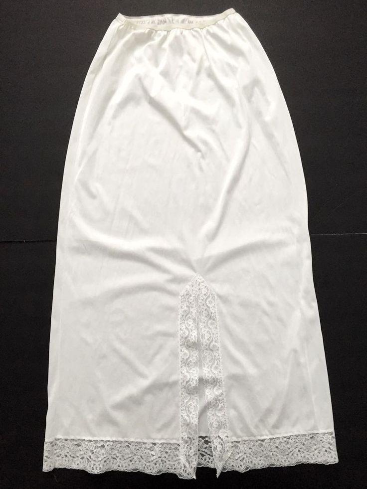 Vintage Vassarette Long Half Slip ANTRON III NYLON TRICOT Non-Cling White SMALL…