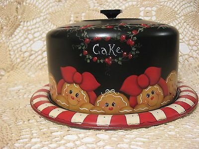 HP HANDPAINTED GINGERBREAD VINTAGE CAKE PLATE/ CARRIER WEST BEND METAL
