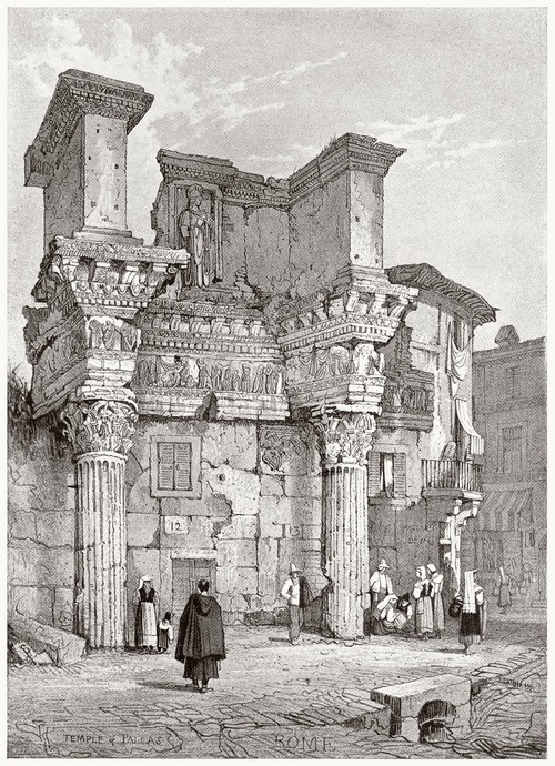 The temple of Pallas, Rome.    Samuel Prout, from Sketches by Samuel Prout, by Charles Holme, London, 1915.