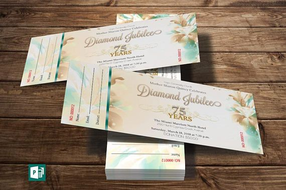 Teal Diamond Jubilee Ticket Publisher Template  10 Gold and