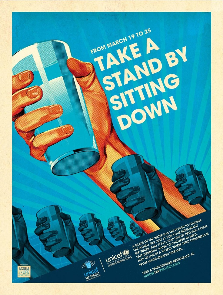 """The United Nations Children's Fund (UNICEF) works in 190 countries and territories to save and improve children's lives. Here is a previous poster from UNICEF's, """"Stand"""" campaign that influenced people into paying $1 for a glass of tap water for one week. The proceeds would help provide clean water to children in need."""
