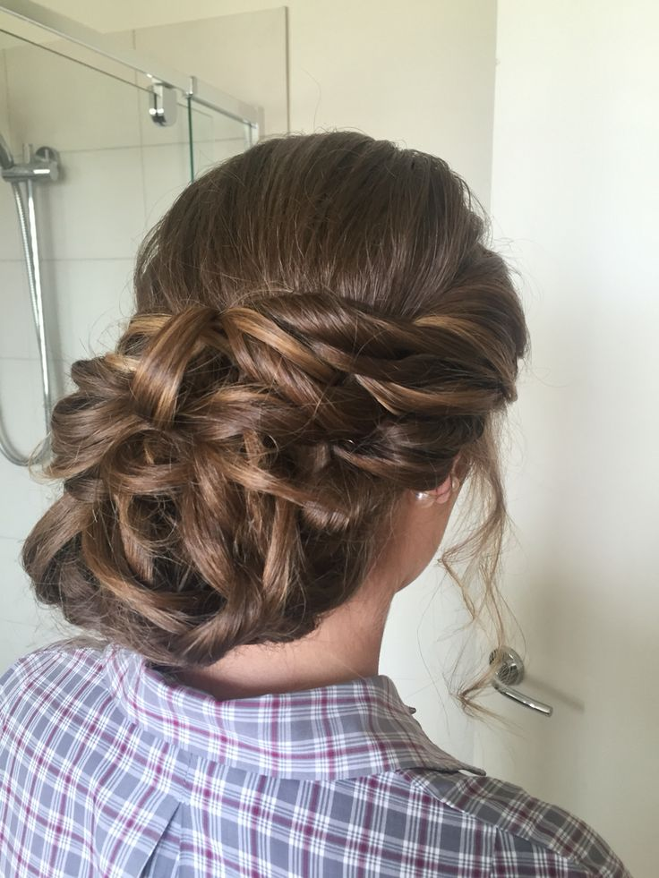 Messy bun with twists