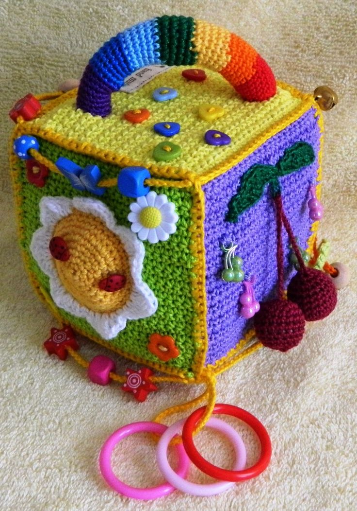 Inspiration - educational toys ***Crochet w/plastic canvas then make the top open w/other crochet toys in it