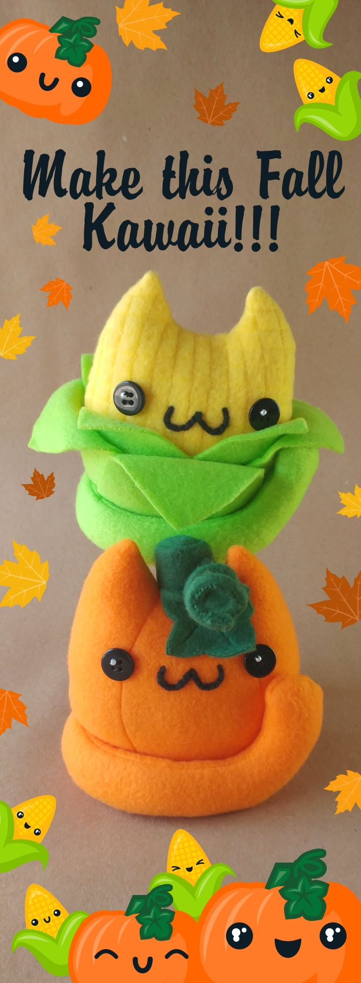 Make this fall Kawaii with a few cute cat food plushies from https://www.etsy.com/pushypushyupdowngo (perfect for Halloween and Thanksgiving decorations or general plush fun!)