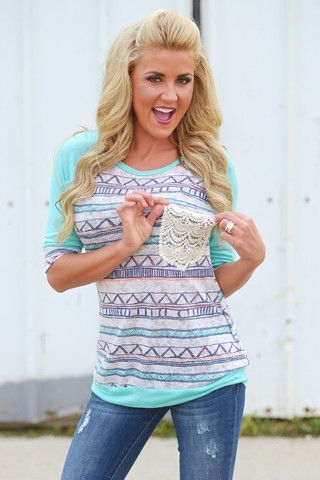 """****Use code """"REPLAUREN"""" for 10% off + Free Shipping!!!!*** Got It In My Pocket Top - Knit Mint"""