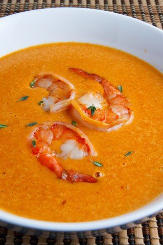 Shrimp Bisque with Garlic, Dry Sherry, Brandy, Fresh Thyme, Paprika, and Cream....