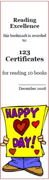 Free Valentine's Day bookmarks, Valentine's Day awards, bookmark maker, holiday reading awards; 100% customizable