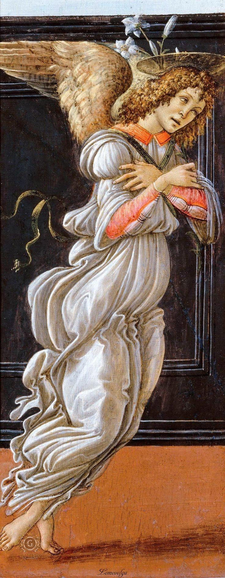 Сандро Боттичелли Благовещение (фрагмент) ГМИИ им. Пушкина, Москва. 1490-00. 45x13 каждая створка