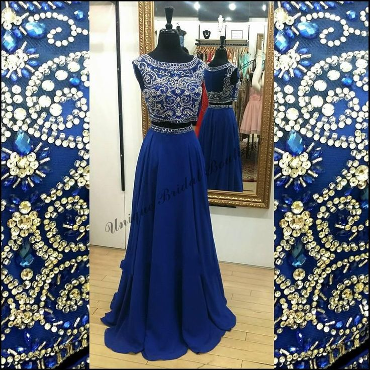 2016 Two Pieces Royal Blue Prom Dresses With Cap Sleeves And Illusion Back Real Photos Beads Sequins Crystals Chiffon Bling Bling Prom Gowns Halter Neck Prom Dresses Long Cheap Prom Dresses From Nicedressonline, $148.64| Dhgate.Com
