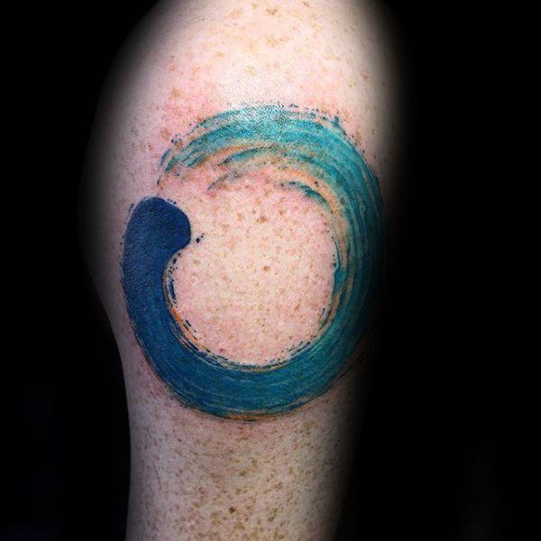 Circle Of Life Ocean Water Waves Enso Mens Arm Tattoo                                                                                                                                                                                 Mais