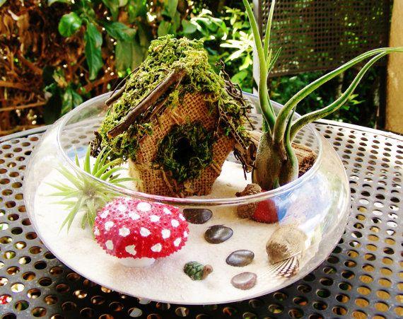 Faerie Garden Terrarium Large Glass Bowl by BeachCottageBoutique, $40.00