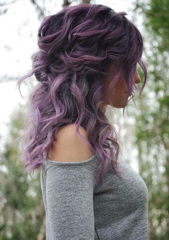 20 Obsessed Purple Curly Hairstyles Trends To Show Off In 2019 Fashionsfield Hair Styles Curly Hair Styles Naturally Hair Color Purple