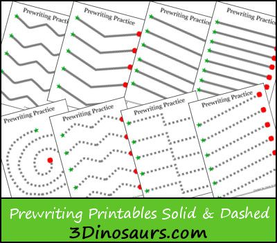 Free Preschool Worksheets Find Free Prewriting Practice Solid & Dashed Printables on 3Dinosaurs.com! Here are additional preschoo