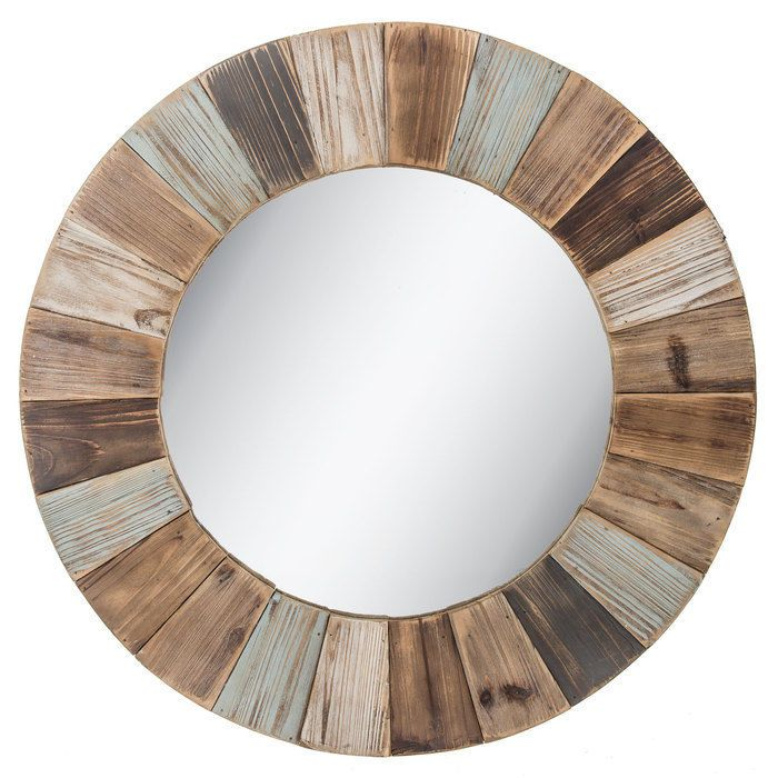 Round Wood Wall Mirror Large Rustic Whitewashed Decorative Hanging
