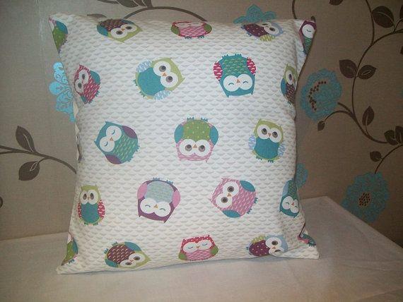 Owl Print Cushion Cover 37cm x 37cm Shabby Chic 14.5 x by TyCwtch, £7.00