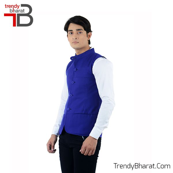 Sparkle the traditional look with this Blue Nehru Jacket this season. #Retro #Betrendy