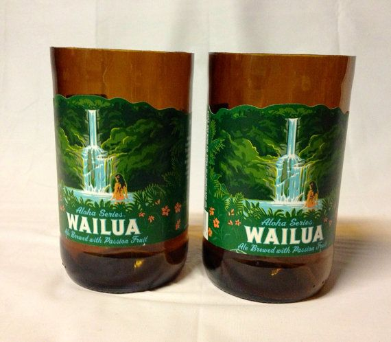Kona Beer Bottle Tumbler Drinking Glasses. Wailua. Hawaiian Beer Bottles. on Etsy, $12.00