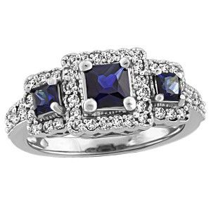 14KT White gold 0.28 ctw diamond and sapphire ring. RIN-LGM-2677
