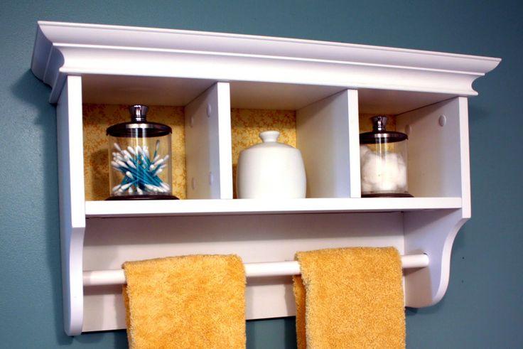 White Wall Shelf With Towel Bar